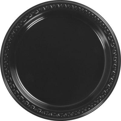 "Huhtamaki 81407 7"" Plastic Plates, Black - 1000 / Case"