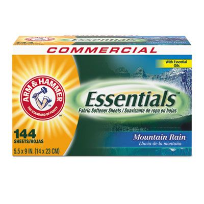 Arm & Hammer 3320000102 Essentials Fabric Softener Sheets, 144 Sheets / Box - 6 / Case