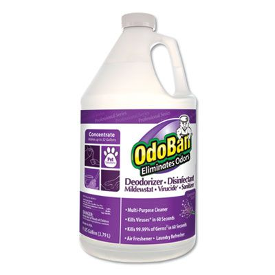 Clean Control 911162G4 OdoBan Deodorizer Disinfectant Cleaner, Lavender Scent, 1 Gallon Bottle - 4 / Case