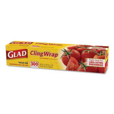 """Clorox 22 Glad ClingWrap Plastic Wrap Roll, 12"""" x 300', Clear - 12 / Case"""