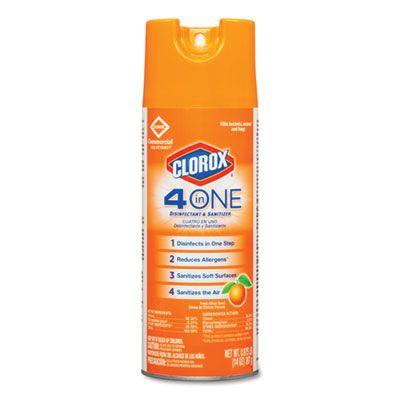 Clorox 31043 4-in-1 Disinfectant & Sanitizer Spray, Citrus Scent, 14 oz Aerosol - 12 / Case