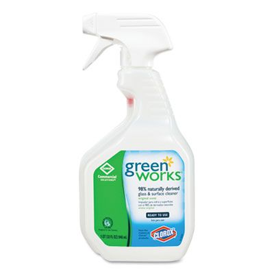 Clorox 459 Green Works Glass & Surface Cleaner, 32 oz Spray Bottle - 12 / Case