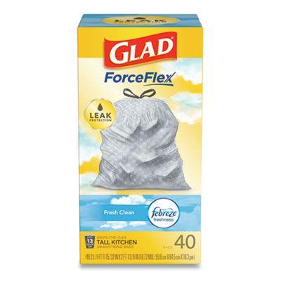 "Clorox 78361 Glad ForceFlex OdorShield 13 Gallon Tall Kitchen Drawstring Trash Bags, Fresh Clean Scent, 0.9 Mil, 24"" x 27-3/8"", White - 240 / Case"