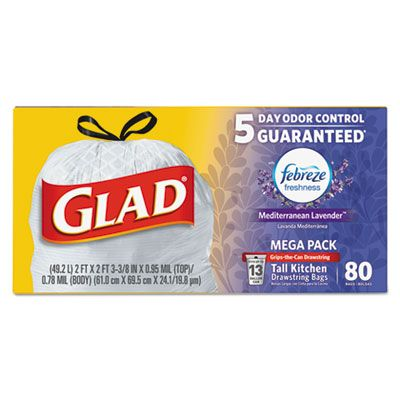 Clorox 78902 13 Gallon Glad OdorShield Tall Kitchen Drawstring Trash Bags, Lavender Scent, 0.78 Mil, White - 240 / Case