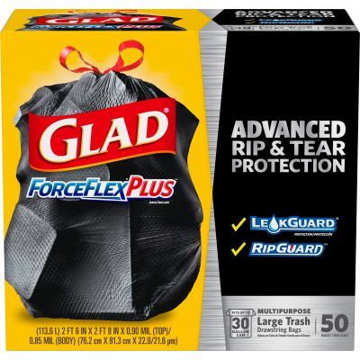 Clorox 78997 30 Gallon Glad ForceFlex Drawstring Trash Bags, 0.90 Mil, Black - 50 / Case