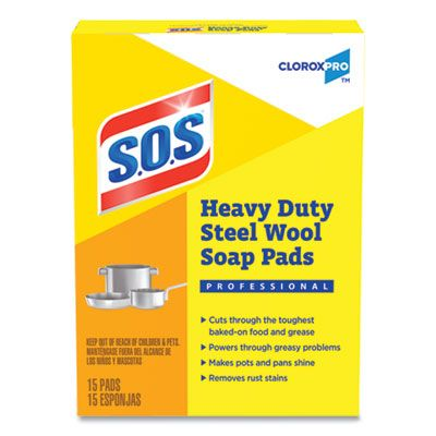 Clorox 88320 S.O.S Steel Wool Soap Pads, 15 / Box - 12 / Case