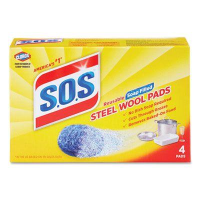 Clorox 98041 S.O.S. Steel Wool Soap Pads, 4 / Box - 24 / Case