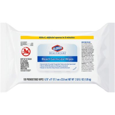 "Clorox 32621 Healthcare Bleach Germicidal Wipes, 6.75"" x 9"", 100 / Pouch - 6 / Case"