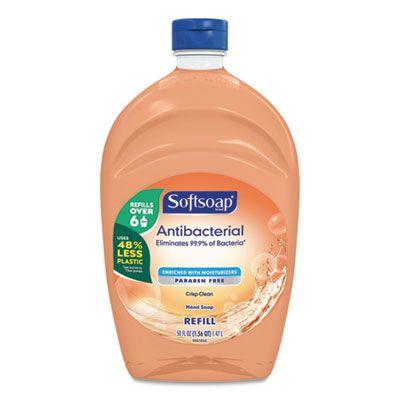 Colgate 46325 Softsoap Antibacterial Liquid Hand Soap Refill, Crisp Clean Scent, 50 oz Bottle, Orange - 6 / Case