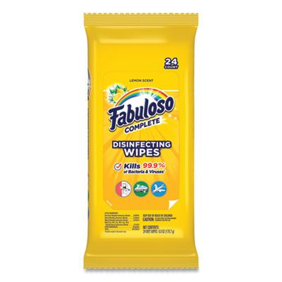 "Colgate Palmolive 98719 Fabuloso Disinfecting Wipes, Lemon Scent, 7"" x 7"", 24 / Pack - 12 / Case"