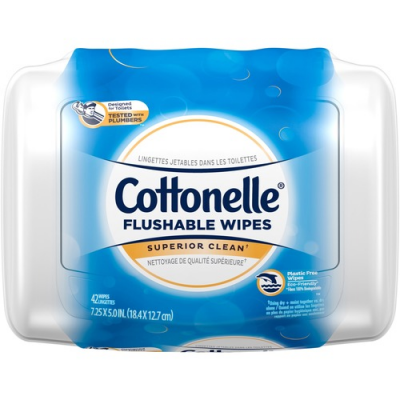 Kimberly-Clark 36734 Cottonelle Flushable Cleansing Cloth Wipes, 42 / Pack - 8 / Case