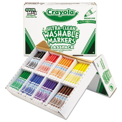 Crayola 588200 Ultra-Clean Washable Markers Classpack, Broad Tip,16 Assorted Colors, 200 / Box - 1 / Case