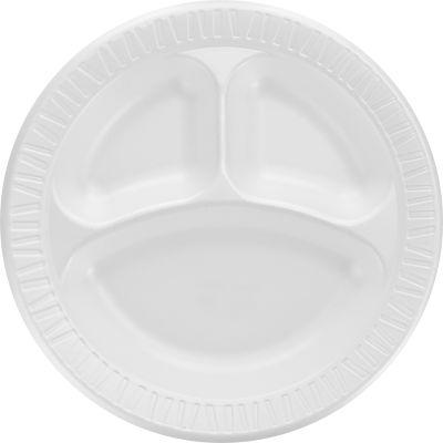 "Dart 10CPWQ 10.25"" Foam Plates with 3 Compartments, White - 500 / Case"