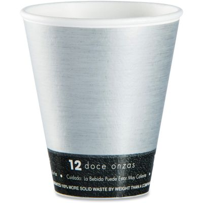 Dart 12U16FS ThermoThin 16 oz Insulated Hot / Cold Cups, Silver / Black - 1000 / Case