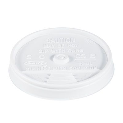 Dart 12UL Plastic Sip Thru Lids for Cups Ending in 12, White - 1000 / Case