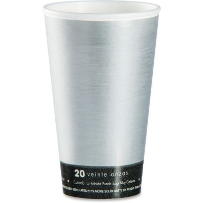 Dart 20U16FS Fusion Steele 20 oz Insulated Hot / Cold Cups, Silver / Black - 500 / Case