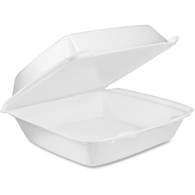 "Dart 85HT1 Foam Hinged Containers, 8-3/8"" x 7-7/8"" x 3-1/4"", White - 200 / Case"