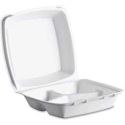 "Dart 85HT3 Foam Hinged Containers with 3 Compartments, 8-3/8"" x 7-7/8"" x 3-1/4"", White - 200 / Case"