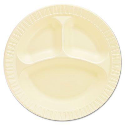 "Dart 10CPHQR 10-1/4"" Laminated Foam Plates, 3 Compartment, Honey - 500 / Case"
