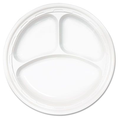 """Dart 10CPWF 10.25"""" Plastic Plate with 3 Sections, White - 500 / Case"""