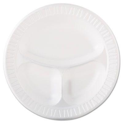 "Dart 10CPWQR 10-1/4"" Laminated Foam Plates, 3 Compartment, White - 500 / Case"