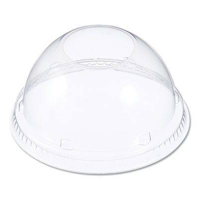 "Dart 16LCDH Plastic Dome Lid with 1-1/2"" Hole, for 12-24 oz Foam Cups, Clear - 1000 / Case"