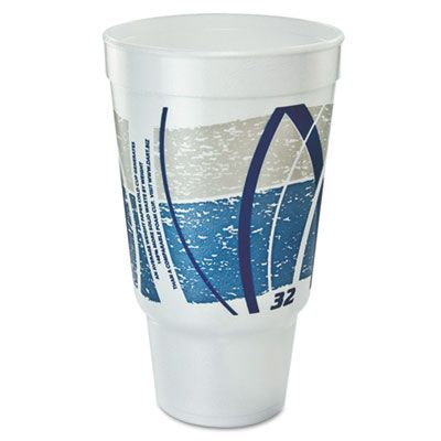 Dart Solo 32AJ20E 32 oz Impulse Foam Hot / Cold Drinking Cup, Printed Blue / Gray - 400 / Case