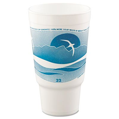Dart Solo 32AJ20H 32 oz Horizon Foam Hot / Cold Drinking Cups, Teal / White - 400 / Case