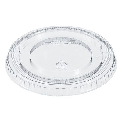 Dart Solo 640TP Flat Non-Vented PETE Plastic Lids for 12 oz Cold Cups, Clear - 2500 / Case