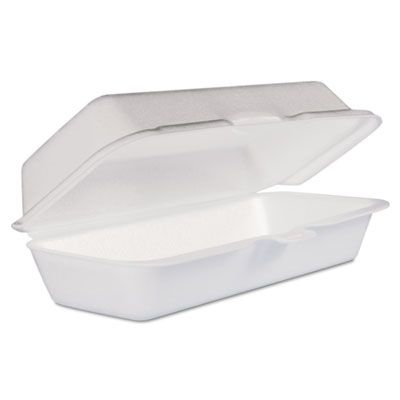 "Dart Solo 72HT1 Hot Dog Foam Hinged Containers, 7-1/10"" x 3-4/5"" x 2-3/10"", White - 500 / Case"