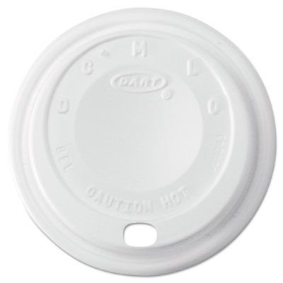 Dart 8EL Cappuccino Dome Sipper Lids for Foam Cups Ending in 8, White - 1000 / Case