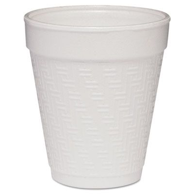 Dart 8KY8 8 oz Foam Hot / Cold Drink Cup, White with Greek Key Design - 1000 / Case