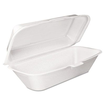 "Dart 99HT1R Foam Hoagie Container with Removable Lid, 9-4/5"" x 5-3/10"" x 3-3/10"", White - 500 / Case"