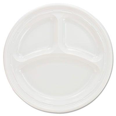 """Dart 9CPWF 9"""" Plastic Plates, 3 Compartment, White - 500 / Case"""
