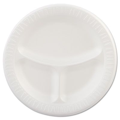 "Dart 9CPWQR 9"" Laminated Foam Plates, 3 Compartment, White - 500 / Case"