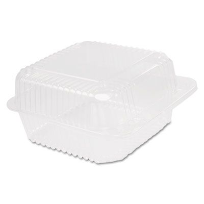 """Dart Solo C25UT1 Staylock Hinged Square Container, Deep Base, 6-1/10"""" x 6-1/2"""" x 3"""", Clear - 500 / Case"""