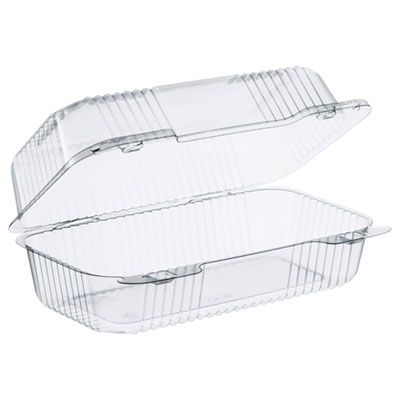 "Dart C35UT1 Staylock Plastic Hinged Lid Container, 5.4"" x 9"" x 3.5"", Clear - 250 / Case"