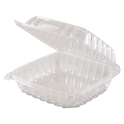 """Dart C90PST1 ClearSeal Plastic Hinged Lid Containers, 8.3"""" x 8.2"""" x 3"""", Clear - 250 / Case"""