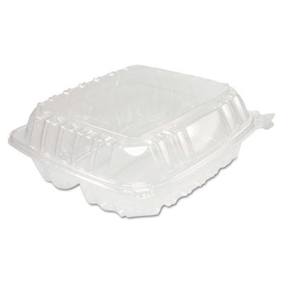 """Dart Solo C90PST3 ClearSeal Plastic Hinged Lid Containers, 3 Compartments, 8.3"""" x 8.3"""" x 3"""", Clear - 250 / Case"""