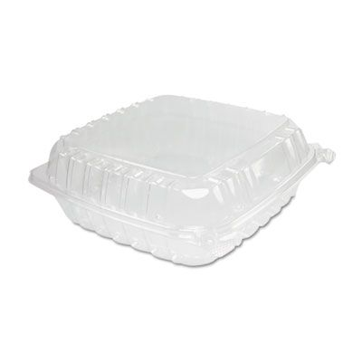 "Dart C95PST1 ClearSeal Large Plastic Hinged Containers, 9"" x 9-1/2"" x 3"", Clear - 200 / Case"