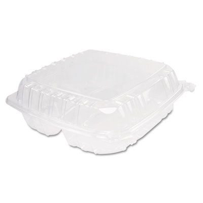"Dart Solo C95PST3 ClearSeal Plastic Hinged Container, 3 Compartments, 9"" x 9-1/2"" x 3"", Clear - 200 / Case"