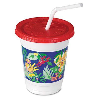 Solo CC12C-J5145 12-14 oz Plastic Jungle Print Kids Cup, Lid, and Straw Combo Packs - 250 / Case
