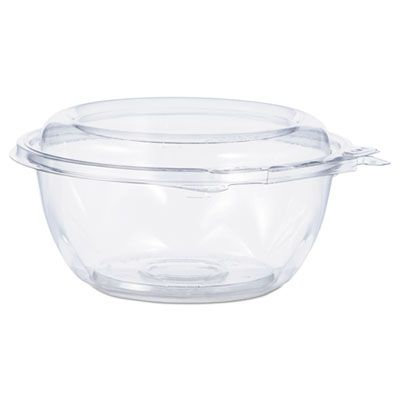 "Dart CTR12BD 12 oz SafeSeal Tamper-Resistant Plastic Bowls with Attached Lid, 5-1/5"" Dia. x 2-3/5"", Clear - 240 / Case"