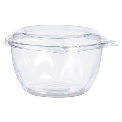 "Dart CTR16BD 16 oz SafeSeal Tamper-Resistant Bowls with Attached Lid, 5-1/5"" Dia. x 3-1/10"", Clear - 240 / Case"