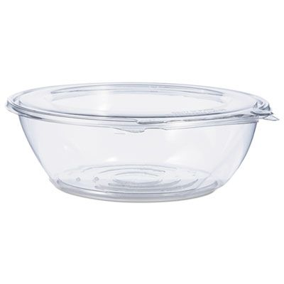 "Dart CTR48BF 48 oz SafeSeal Plastic Tamper-Resistant Bowl Containers, 8.9"" x 2.8"", Clear - 100 / Case"