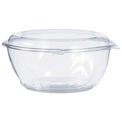 "Dart Solo CTR64BD 64 oz SafeSeal Plastic Tamper-Resistant Bowl Containers, 8-9/10"" x 4"", Clear - 100 / Case"