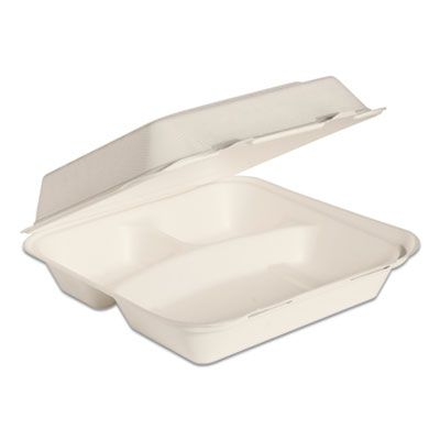 "Dart Solo HC9CSC2050 Bare Eco-Forward Bagasse Hinged Lid Takeout Containers, 3 Compartment, 9.6"" x 9.4"" x 3.2"", Ivory - 200 / Case"