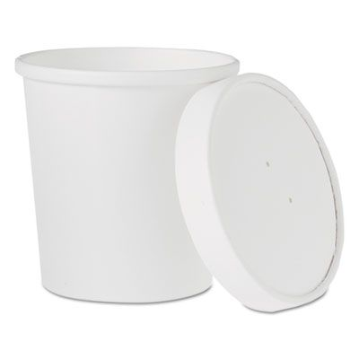 Solo KHB16A-2050 16 oz Flexstyle Paper Food Containers with Vented Lids, White - 250 / Case