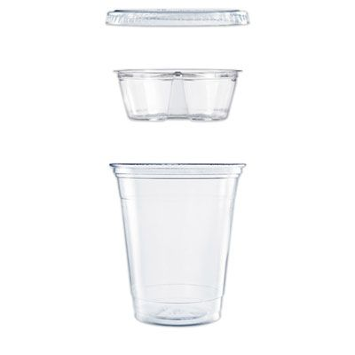 Dart PF35C1CP Grab 'n' Go 12 oz Plastic Cups with 3.5 oz Insert Kits, Clear - 500 / Case