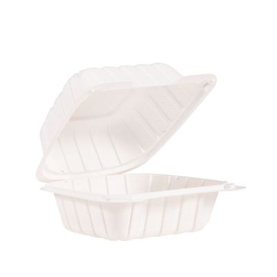 """Dart 60MFPPHT1 ProPlanet Plastic Hinged Lid Sandwich Container, Mineral-Filled Polypropylene, 6.3"""" x 6"""" x 3"""", White - 400 / Case"""